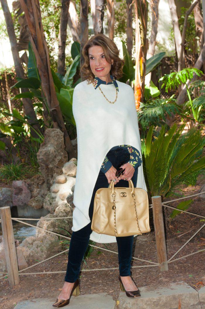 Maje Poncho, Cabi Blouse, Rag and Bone Jeans, Zara Shoes, Chanel Handbag, Robin Terman Necklace, Christian Dior Tribal Earrings.