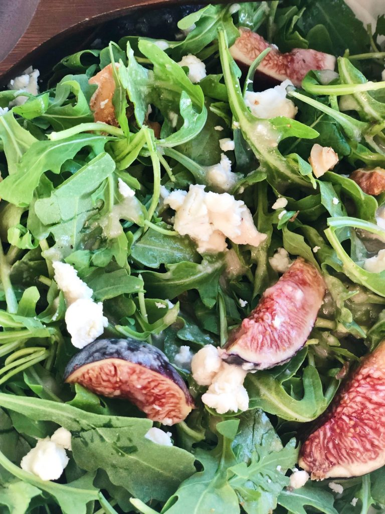 Fig Salad with Baby Arugula, Goat Cheese and Walnuts.