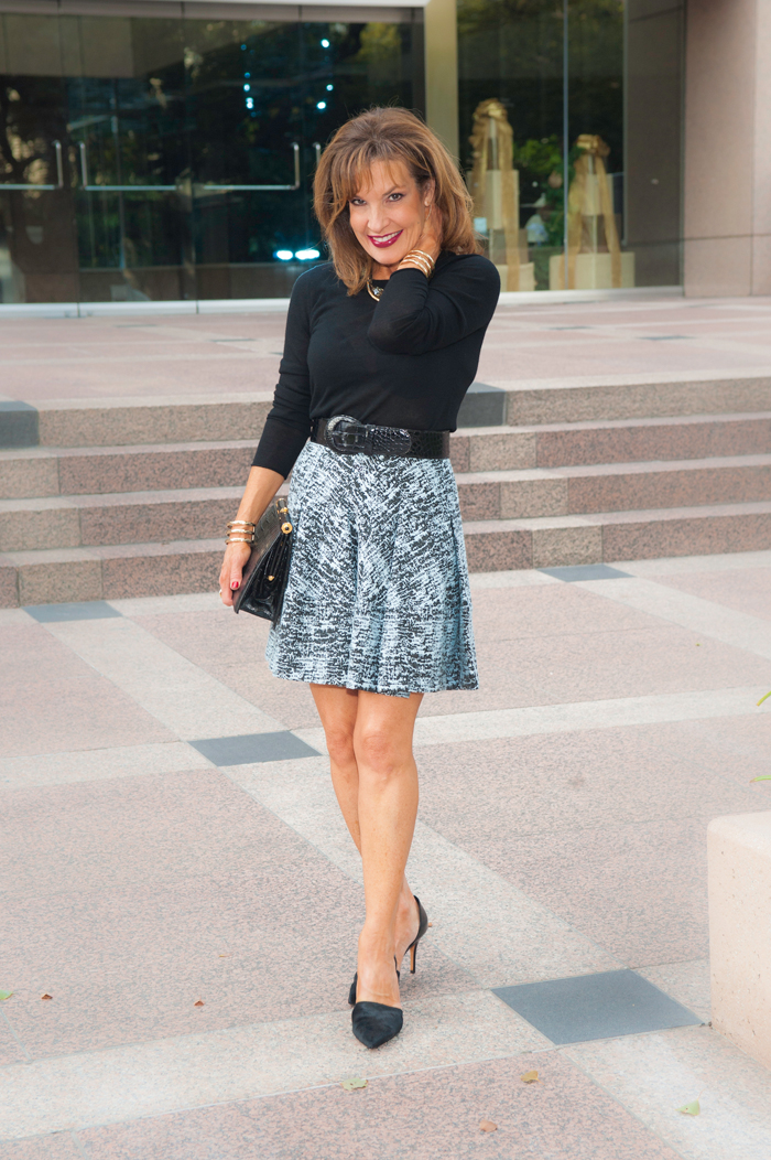 Jonathan Simkhai Skirt and Scoop NYC Sweater all from Scoop NYC