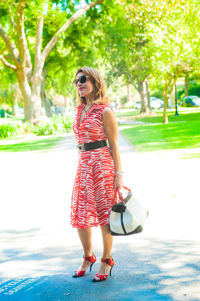 CAbi Dress , Barbara Bui Belt, also seen  here , Bottega Veneta Shoes, Caroline De Marchi Handbag, also seen  here , Chanel Shades, Sarah Pacini Necklace,  John Hardy Bracelet , Spinellikilcollin Ring, available at  Savannah Santa Monica , NARS Heat Wave Lipstick.