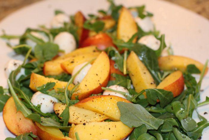 Arugula Salad with Nectarines and Fresh Mozzarella