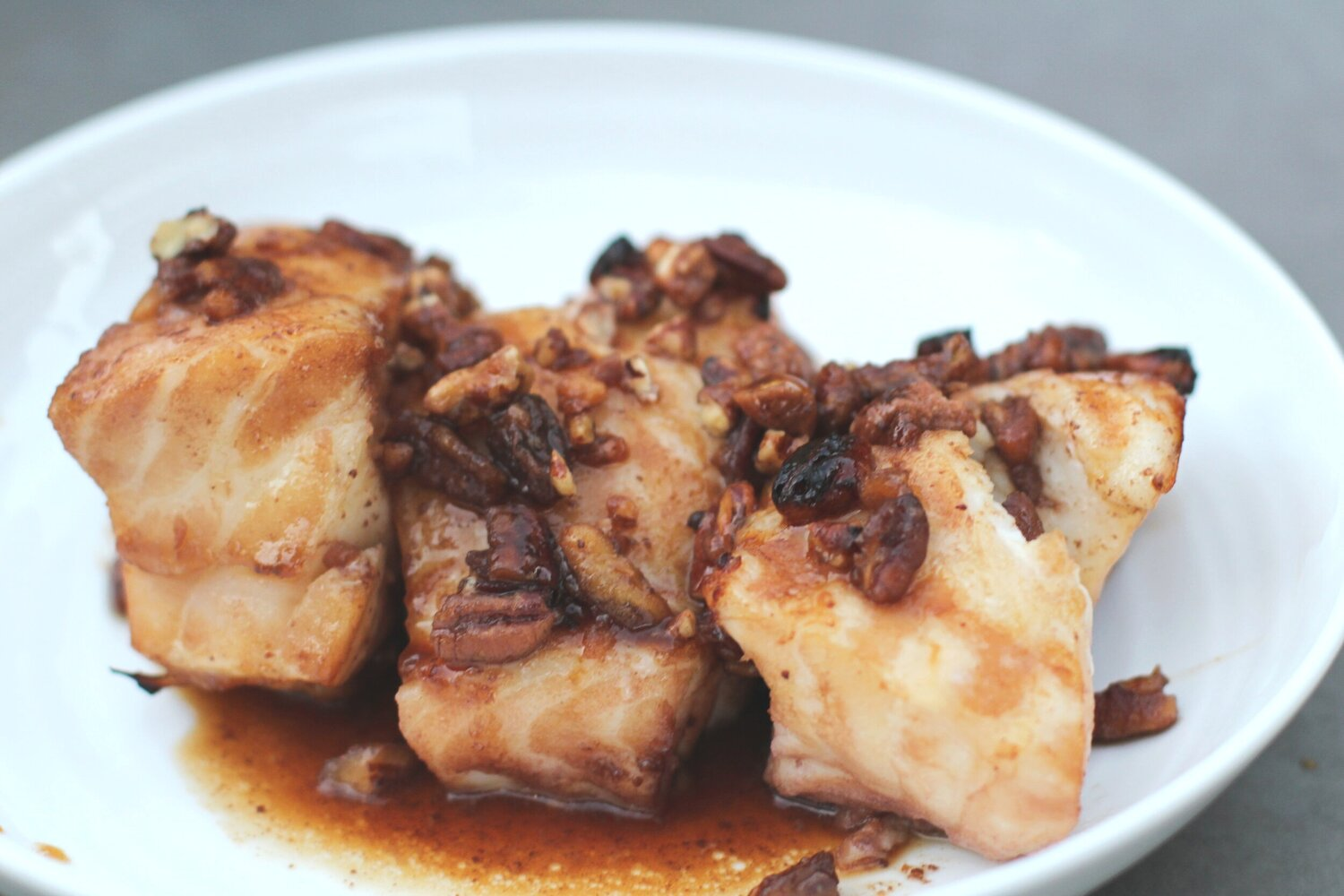 Chilean Sea Bass in Honeyed Pecan Sauce