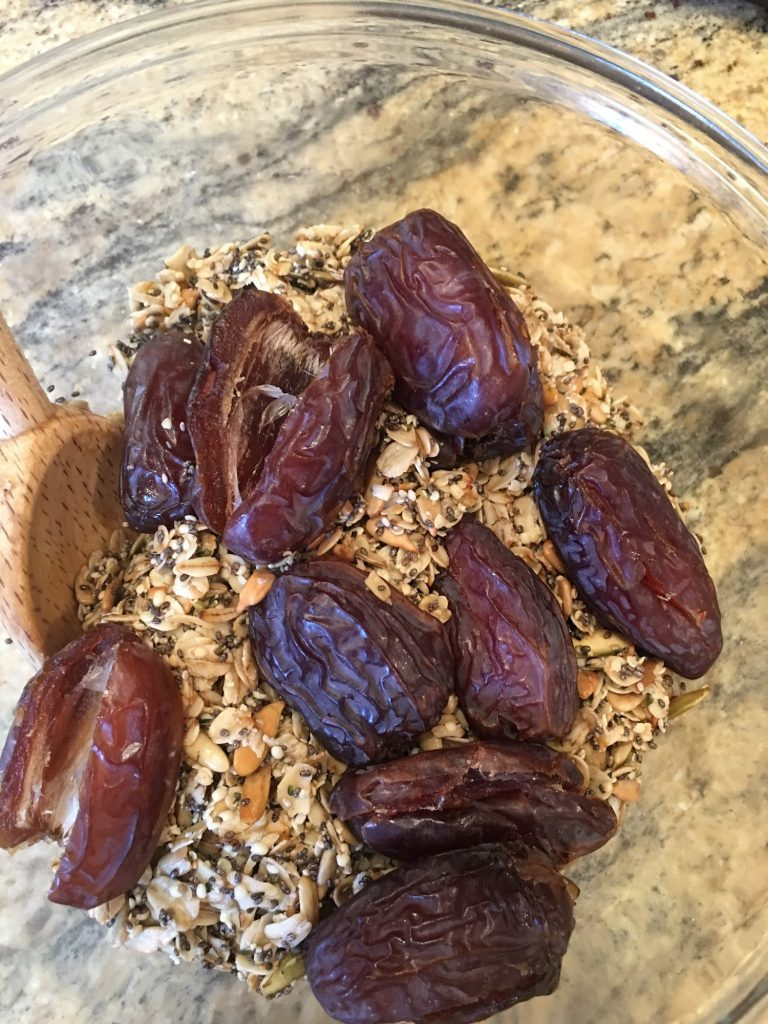 Mixing Dates for Raw Date Bar Recipe