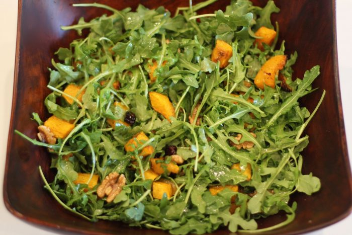Arugula Salad with Roasted Butternut Squash and Warm Cider Vinaigrette