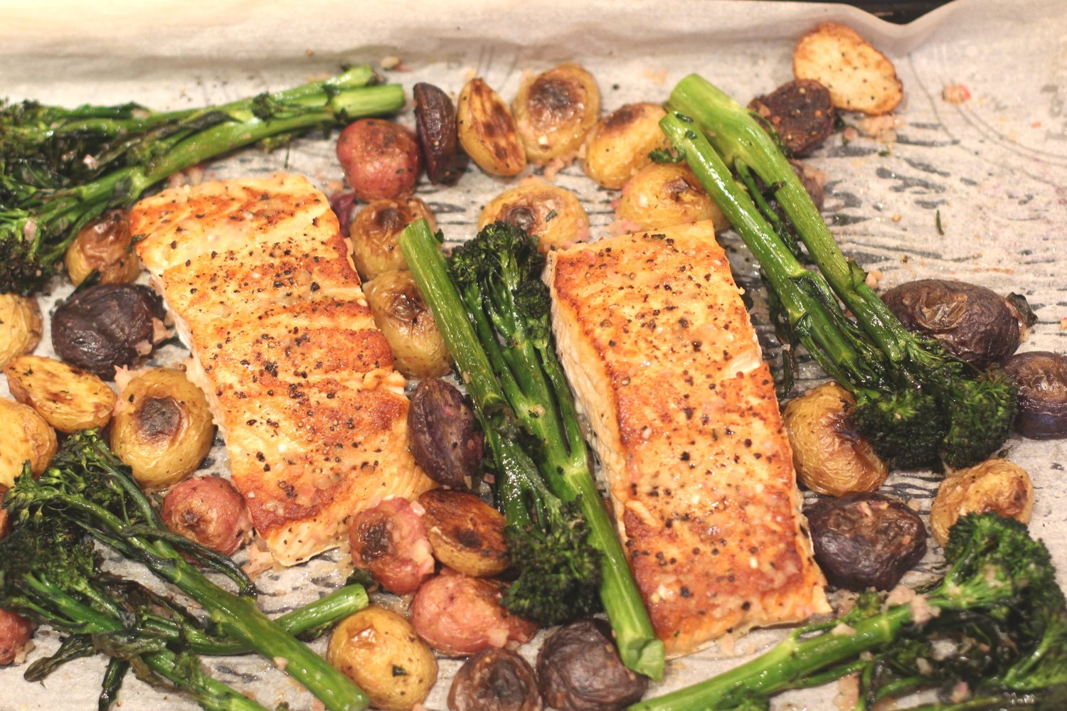 Pan Roasted Salmon with Potatoes and Broccolini
