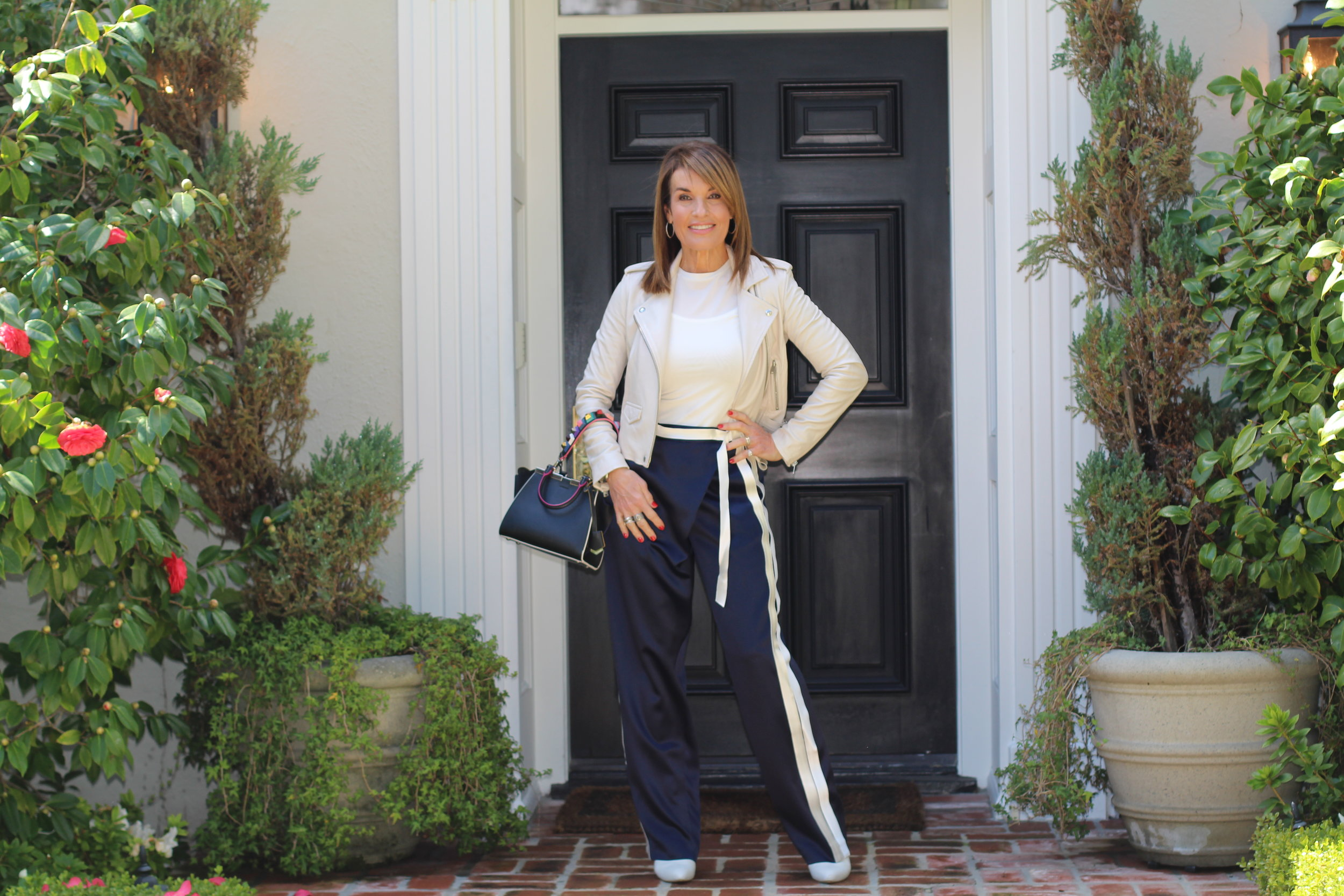 Dion Lee pants   ,    similar here       and here   , Max Mara tank and top,    similar here   ,    Iro jacket   ,     similar for less here,      Stuart Weitzman boots  , Fendi handbag