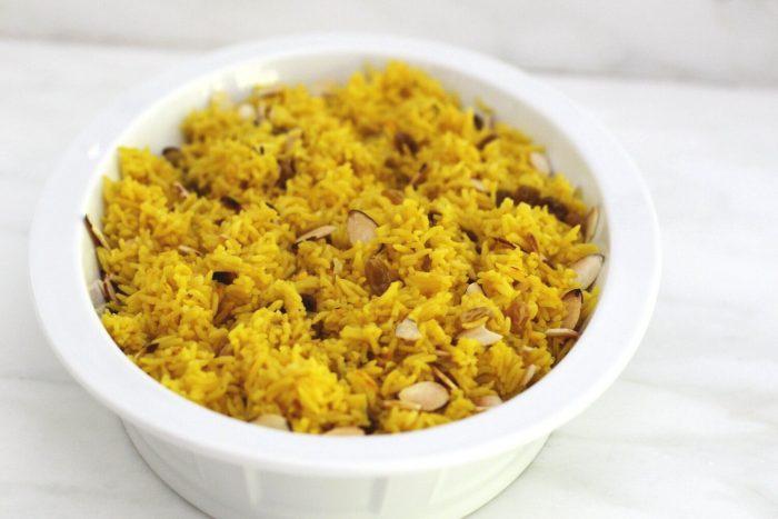 Saffron rice with almonds raisins