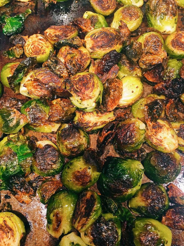 Roasted Brussel Sprouts With Walnuts and Pomegranate Molasses