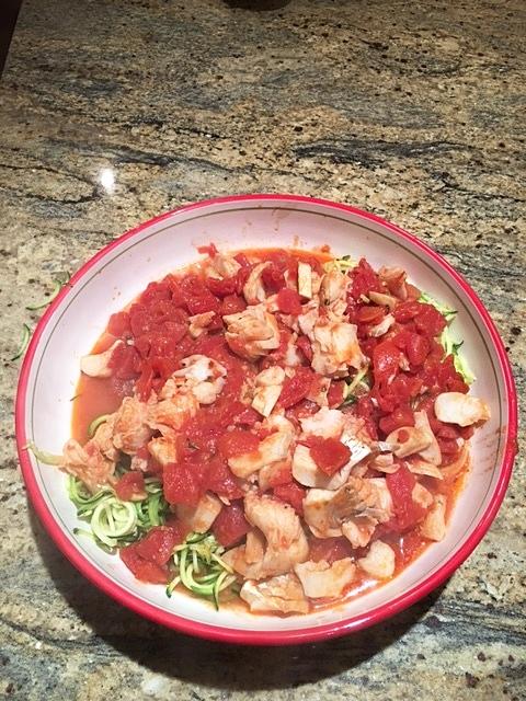 Cod Arrabbiata over Zucchini Noodles