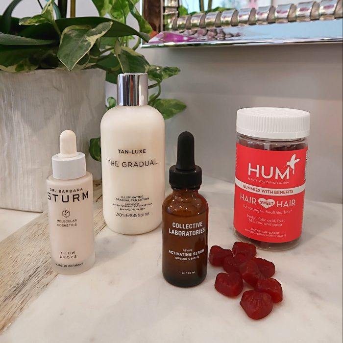 Dr. Sturm Glow Drops, Hum Nutrition Gummies, Collective Laboratories Hair Serum, Tan Luxe Gradual.