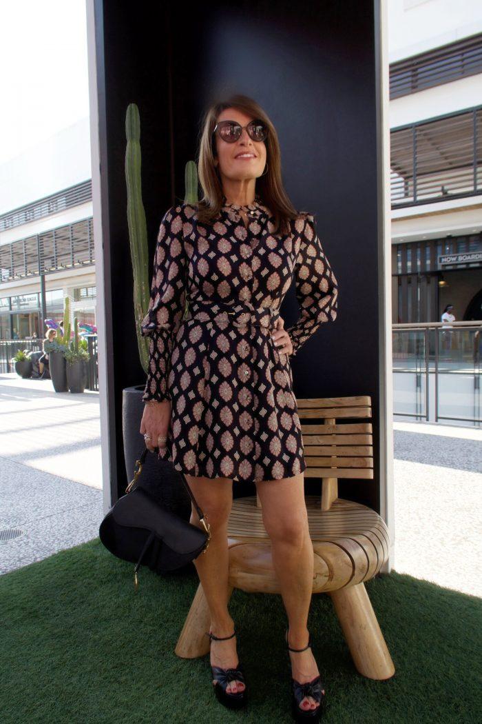 Nicholas Dress, Dior Saddlebag, and Saint Laurent Platform Sandals.