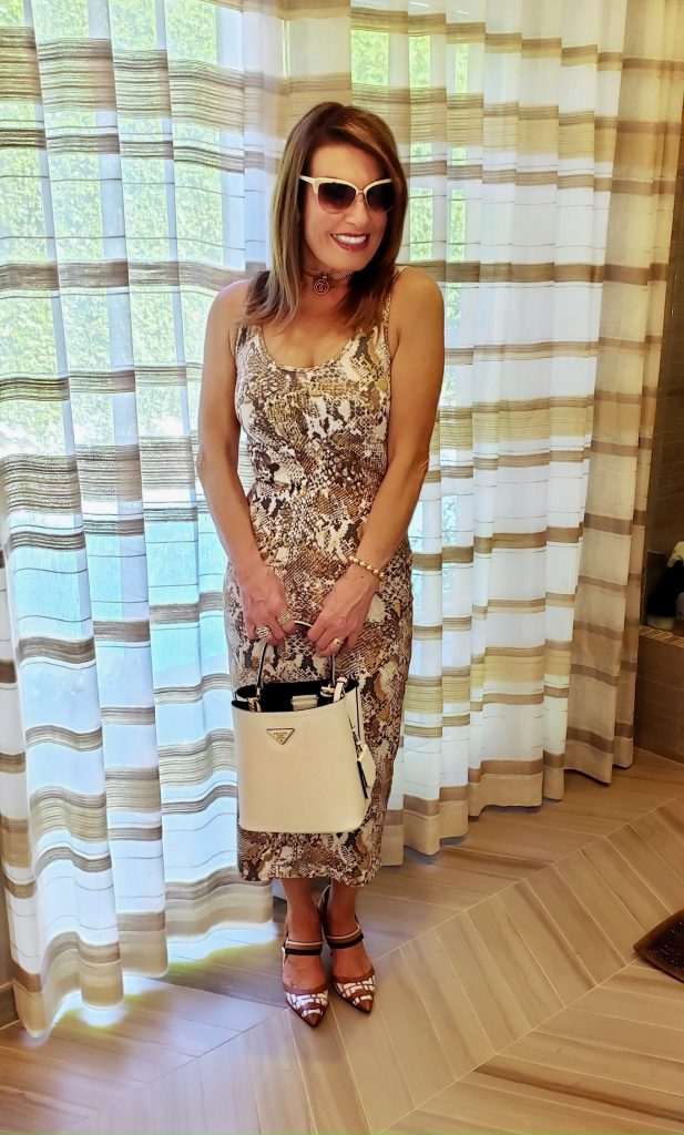 Enzo Costa Sophie Dress and Fendi Colibri Slingback Pumps.