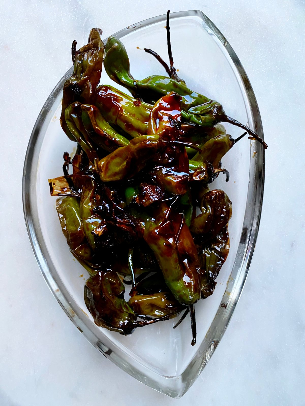 Blistered Shisito Peppers in a Balsamic Vinegar Glaze