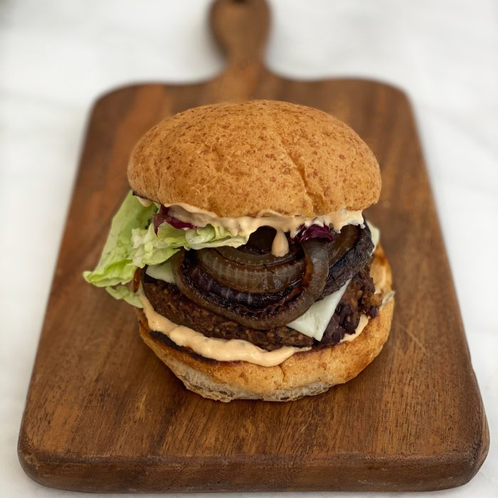 Black Bean and Mushroom Burger