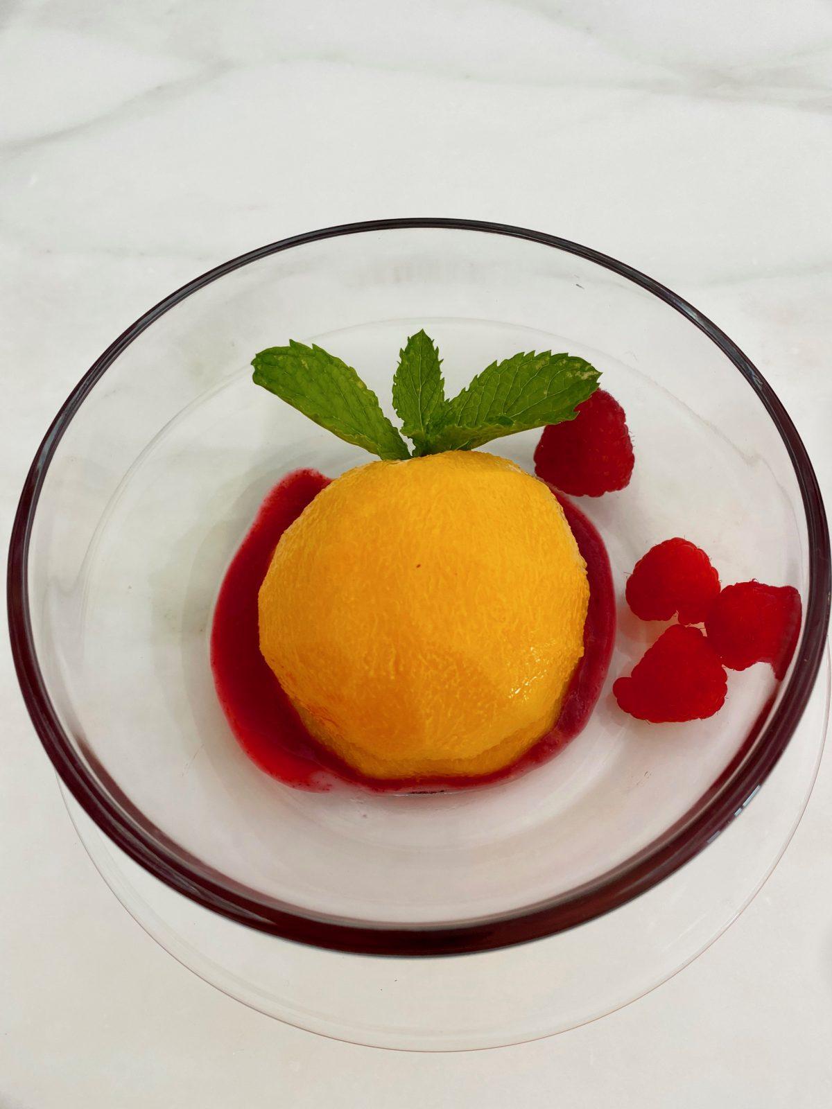 Peaches in Raspberry Sauce