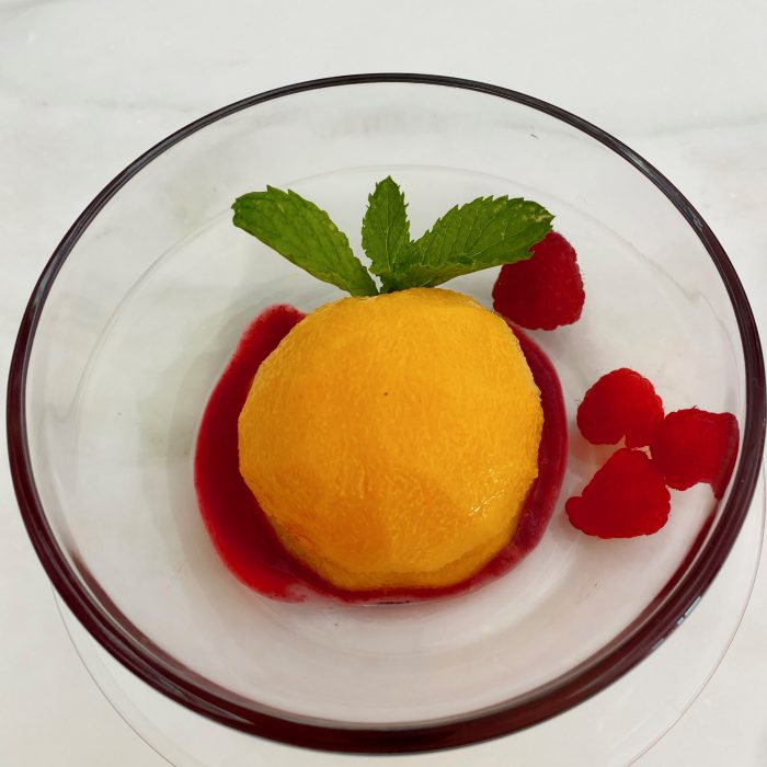 Peaches in Raspberry Sauce