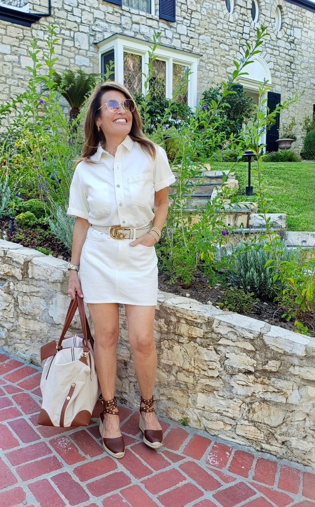 Rag and Bone Shirtdress, Celine Wedges on Sale Here, Similar for Less Here, Gucci Belt, Henny and Lev Weekender Bag on Sale Here, Gucci Shades, Cartier Ballon Watch, Jewels by Molly Sydney bracelets