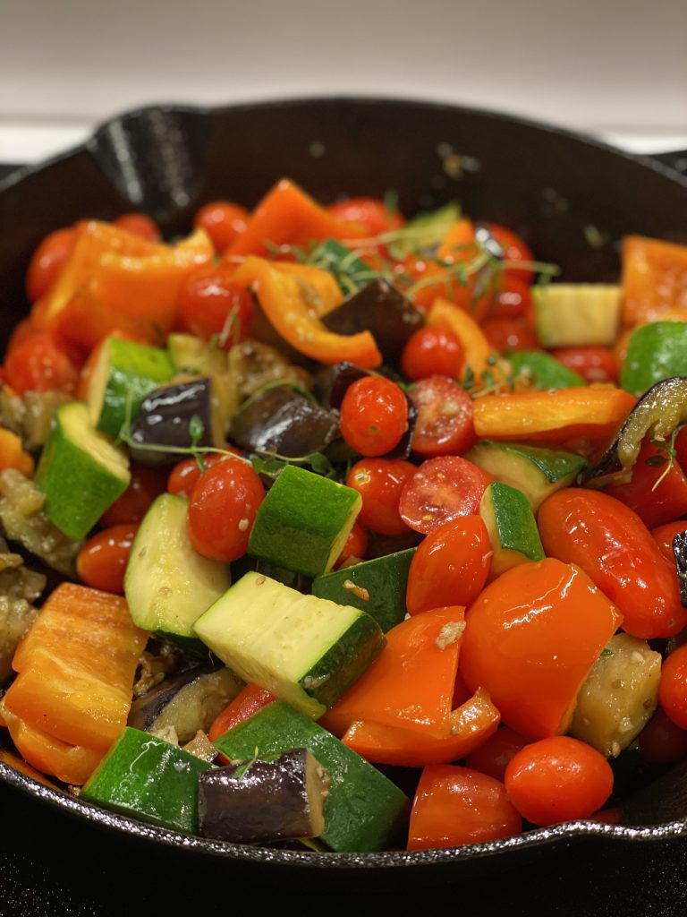 One Skillet Roasted Chicken Breasts with Ratatouille